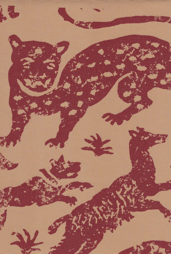 Escorial   Hand Printed Fabric Design, Scarlet Color on